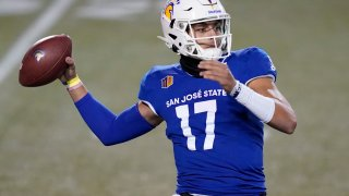 In this Friday, Dec. 11, 2020 file photo, San Jose State quarterback Nick Starkel (17) looks to throw against Nevada during the first half of an NCAA college football game in Las Vegas. No. 25 San Jose State will face perennial conference powerhouse Boise State in the Mountain West championship on Saturday, Dec. 19, 2020 in Las Vegas.