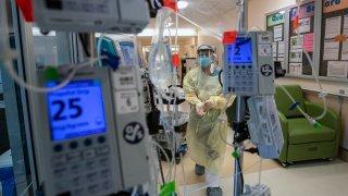 Medical instruments to monitors a coronavirus patient.