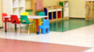 Inside a kindergarten intentionally out of focus without people.