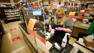 Vons checker cashier at Vons on Monday, April 27, 2020 in Torrance, CA.