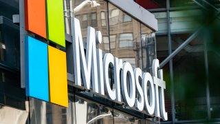 In this July 22, 2020, file photo, Microsoft signage is displayed outside a Microsoft Technology Center in New York.