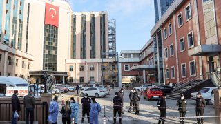 Police cordon off the area in front of the privately-run Sanko University Hospital in Gaziantep after nine patients, all infected with Covid-19, died in a fire on December 19, 2020.