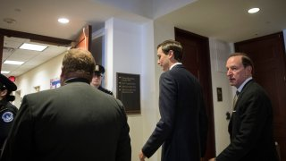 WASHINGTON, DC - JULY 25: With lawyer Abbe Lowell (R) accompanying him, White House Senior Advisor and President Donald Trump's son-in-law Jared Kushner arrives for his interview with the House Permanent Select Committee on Intelligence on Capitol Hill, July 25, 2017 in Washington, DC. Kushner is expected to be questioned by committee members as part of the their investigation into Russian election meddling.