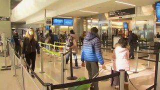 Travelers at San Francisco International Airport.