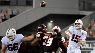 Quarterback Davis Mills of the Stanford Cardinal passes the ball.