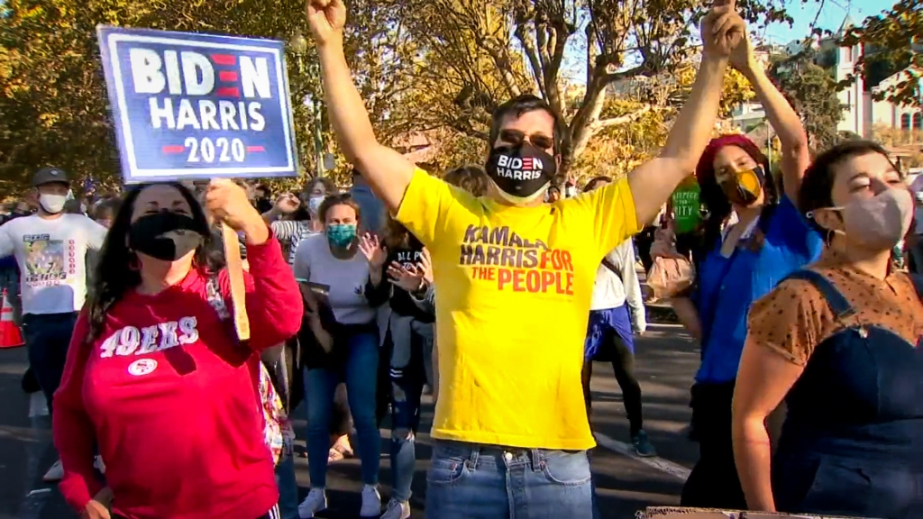 Biden-Harris supporters celebrate in the street