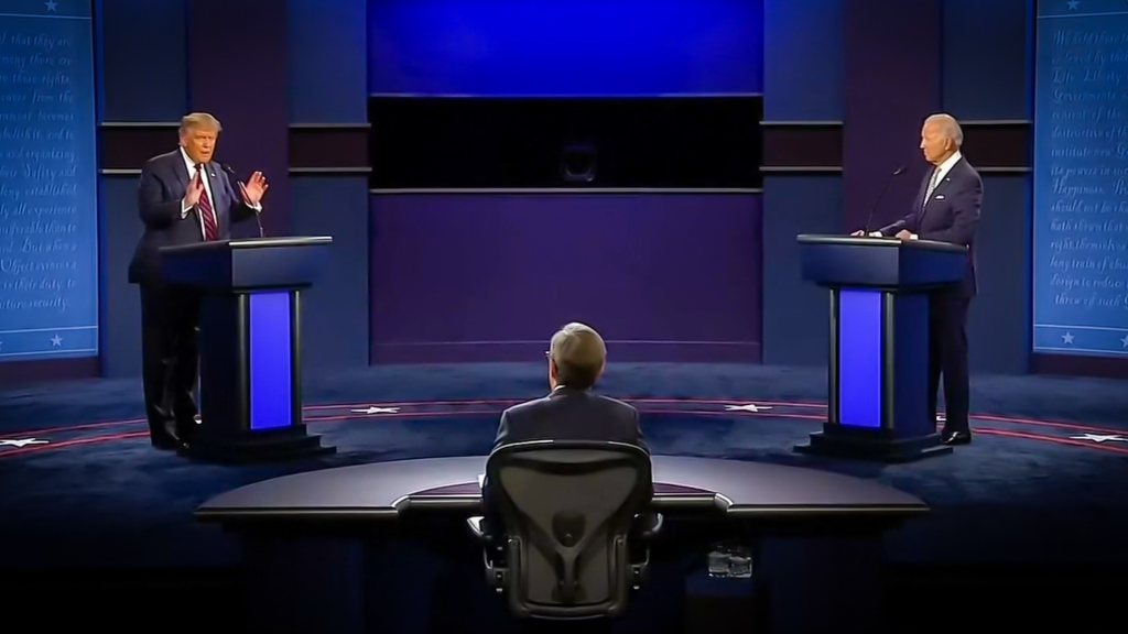 wide shot of the first 2020 presidential debate