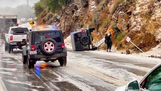First responders work the scene of an accident after a hail storm on Malibu Canyon Road in Malibu, California, Jan. 23, 2021.