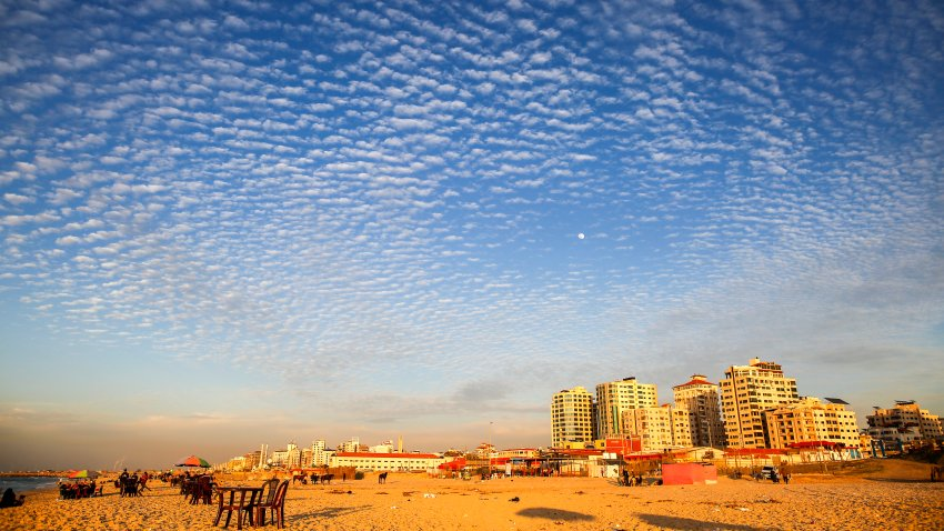 General view of Gaza beach during sunset on January 26, 2021. Amid coronavirus disease (COVID-19) in the Gaza Strip