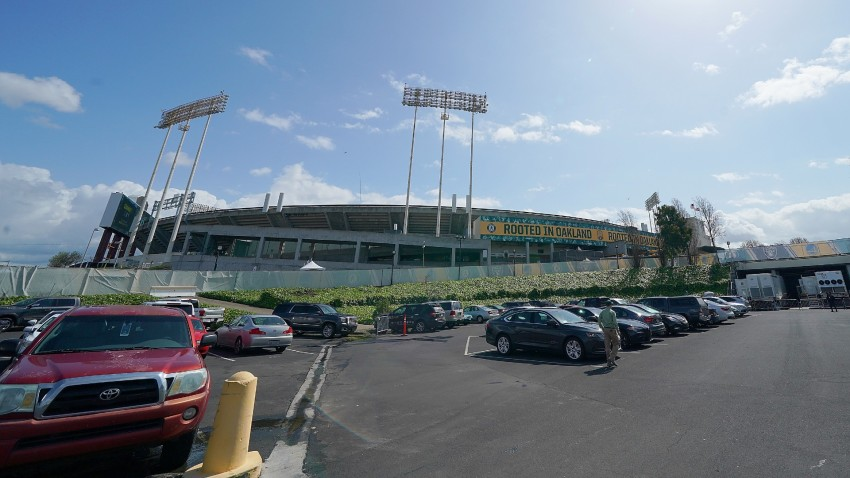 A view from the players parking lot outside the Oakland Coliseum.