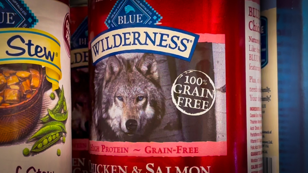 image of a wolf on a bag of pet food