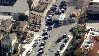Authorities at the scene of an officer-involved shooting in San Jose.