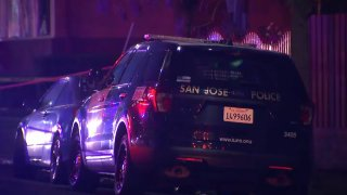 San Jose police car at the scene of a shooting.