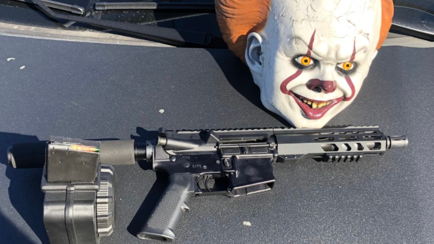 Firearm and clown mask uncovered during a traffic stop in San Leandro.