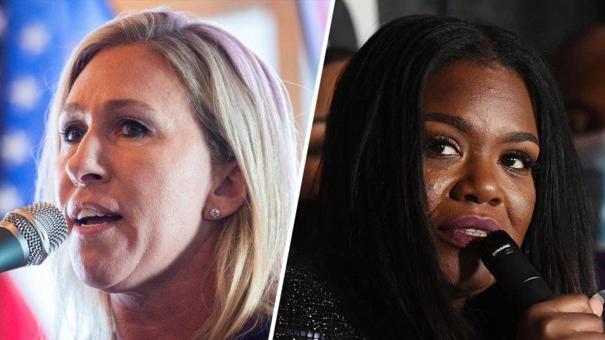 U.S. Representatives Marjorie Taylor Greene (left) and Cori Bush (right).