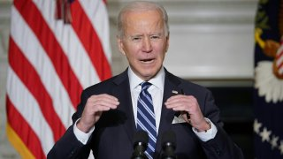 In this Jan. 27, 2021, file photo, President Joe Biden speaks on climate change, creating jobs, and restoring scientific integrity before signing executive orders in the State Dining Room of the White House in Washington, D.C.