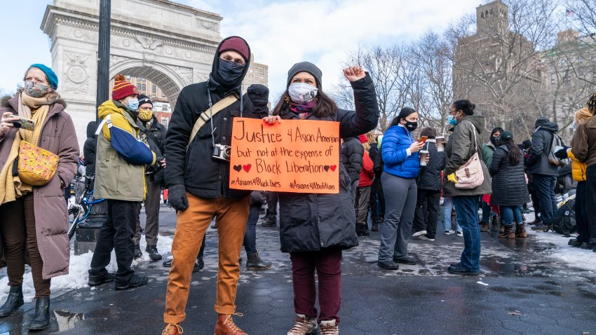 More than 200 people gathered on Washington Square Park to rally in support of the Asian community, against hate crime and white nationalism.