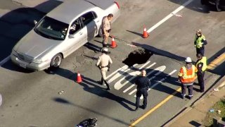 A sinkhole on the I-280 off-ramp to 6th Street in San Francisco.