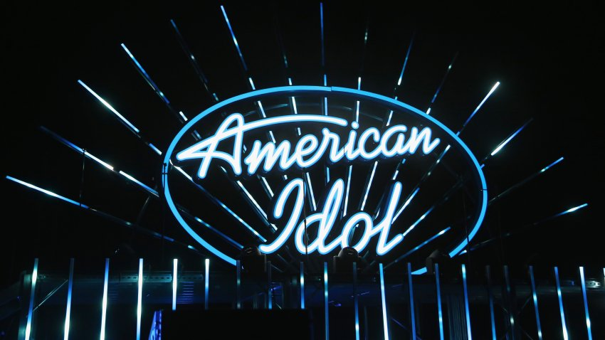 In this July 29, 2018, file photo, an illuminated American Idol sign is displayed during the American Idol Live! 2018 tour at the Orleans Arena in Las Vegas, Nevada.