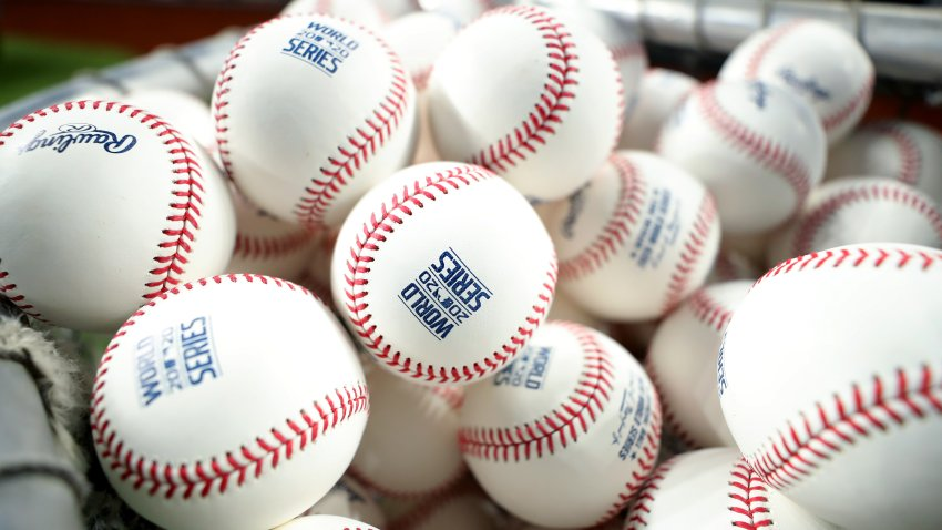 ARLINGTON, TX - OCTOBER 19: Detail view of baseballs during World Series Media Day ahead of the 2020 World Series between the Los Angeles Dodgers and Tampa Bay Rays at Globe Life Field on Monday, October 19, 2020 in Arlington, Texas.
