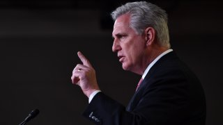 In this Jan. 21, 2021, file photo, U.S. House Minority Leader, Kevin McCarthy, Republican of California, speaks during his weekly press briefing on Capitol Hill in Washington, D.C.