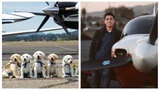 Left: Service puppies in training who are part of Canine Companions' program. Right: 21-year-old San Jose pilot, Owen Leipelt.