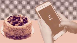 iPhone with TikTok logo next to a cake.