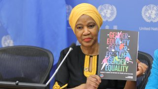 Phumzile Mlambo-Ngcuka, Executive Director, UN Women, ahead of International Women's Day on 8 March launched a report, Womens Rights in Review 25 years after Beijing, a comprehensive stock-take on the implementation of the Beijing Platform for Action at the United Nations, March 5, 2020.