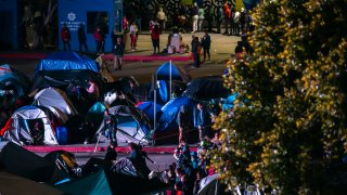 An improvised housing camp for Central American migrants waiting for the US authorities to allow them to enter to begin their process of asylum into the country, on March 26, 2021 in Tijuana, Mexico.
