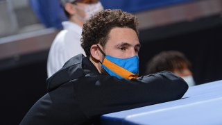 Klay Thompson of the Golden State Warriors looks on during a game.