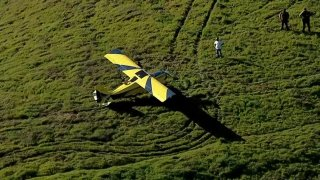 A plane at rest after landing on a hillside in the East Bay.