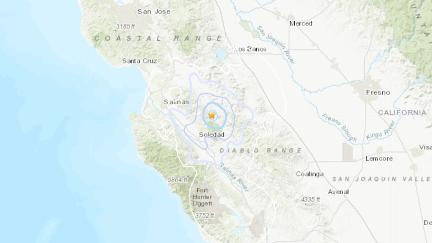 A map from the USGS shows the epicenter of a 3.5 magnitude quake in San Benito County.