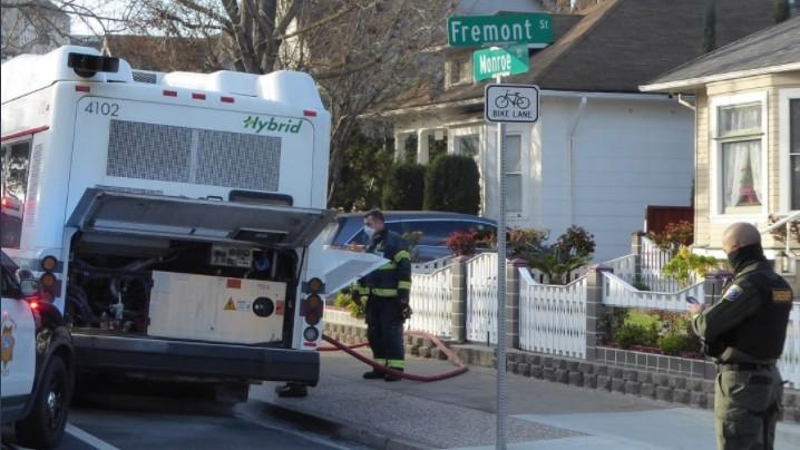A VTA bus at rest after being stolen in Santa Clara.