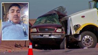 Foto de Jairo Dueñas frente a foto de accidente en Imperial County