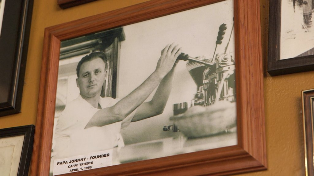 A picture inside Caffe Trieste of founder Giovanni Giotta, who opened the cafe in 1956.