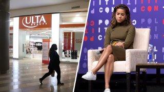 (Left) Ulta Beauty stores. (Right) Alexi McCammond.