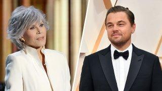 Jane Fonda (left) and Leonardo DiCaprio (right)