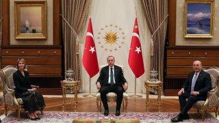 Turkish President Recep Tayyip Erdogan (C) receives U.S. Ambassador to the UN, Kelly Craft (L) at the Presidential Complex in Ankara, Turkey on March 04, 2020.