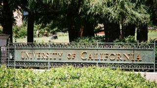Signage for the University of California (UC Berkeley) in Berkeley, California, July 2, 2017.