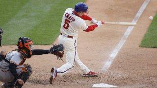 Andrew Knapp of the Philadelphia Phillies hits a walk-off single.