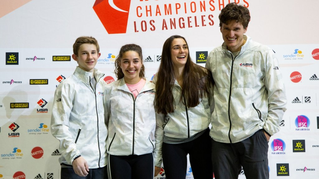 Colin Duff, Brooke Raboutou, Kyra Condie and Nathaniel Coleman.
