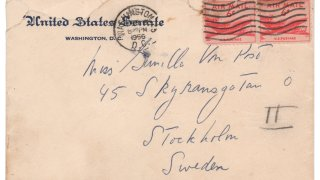 This photo shows an envelope that John F. Kennedy addressed to a Swedish paramour a few years after he married Jacqueline Bouvier, according to Boston-based RR Auction. The auction house says Kennedy wrote letters to aristocrat Gunilla von Post in 1955 and 1956, and announced, Wednesday, May 5, 2021, that they will be going up for auction.