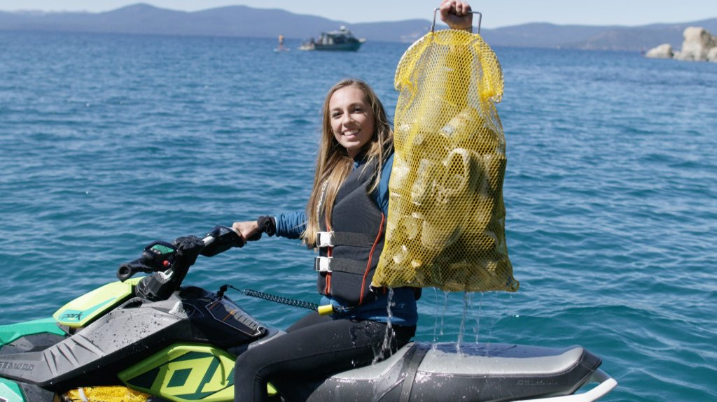 Trash and other debris pulled from the bottom of Lake Tahoe.