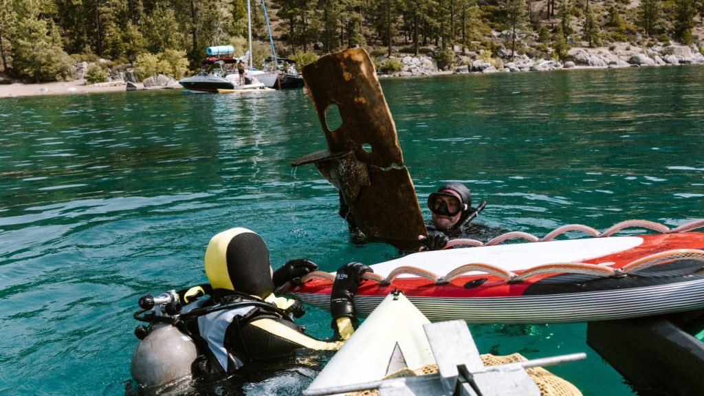 A large piece of debris found in Lake Tahoe.