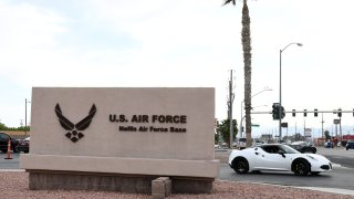 LAS VEGAS, NEVADA - APRIL 03: A sign near the main gate of Nellis Air Force Base is shown on April 3, 2020 in Las Vegas, Nevada. On Friday, the 99th Air Base Wing Commander Col. Cavan Craddock declared a public health emergency at the base as a result of the coronavirus, allowing for greater access to health care resources and more authority to limit access to the installation. Beginning on April 6th, access to the base will be limited to mission essential personnel and those who reside at the base. The World Health Organization declared the coronavirus (COVID-19) a global pandemic on March 11th.