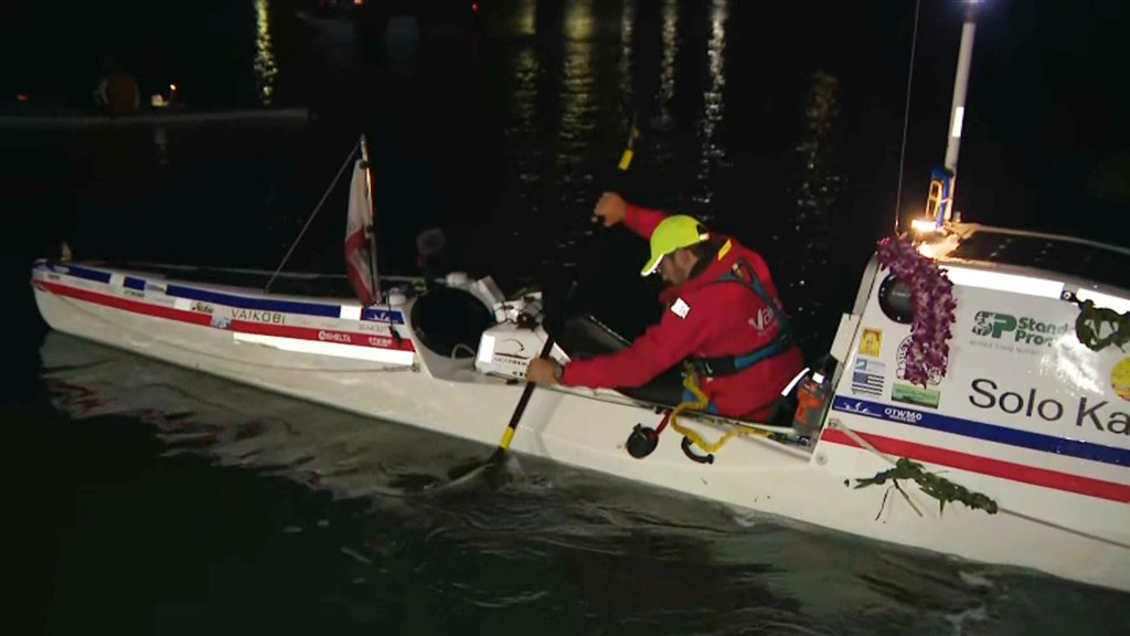 Cyril Derreumaux begins his solo kayaking journey from the Bay Area to Hawaii.
