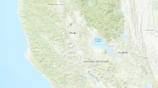 A USGS map shows the location of an earthquake in Mendocino County.