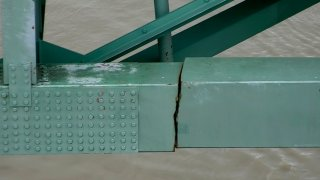 In this undated image released by the Tennessee Department of Transportation shows a crack is in a steel beam on the Interstate 40 bridge, near Memphis, Tenn. The Tennessee Department of Transportation says the crack is in a 900-foot steel beam that provides stability for the Interstate 40 bridge that connects Arkansas and Tennessee over the Mississippi River. The bridge was closed Tuesday, May 11, 2021, after inspectors found the crack.