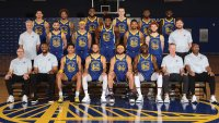 Warriors' Klay Thompson Wears Headband in 2020-21 Team Photo
