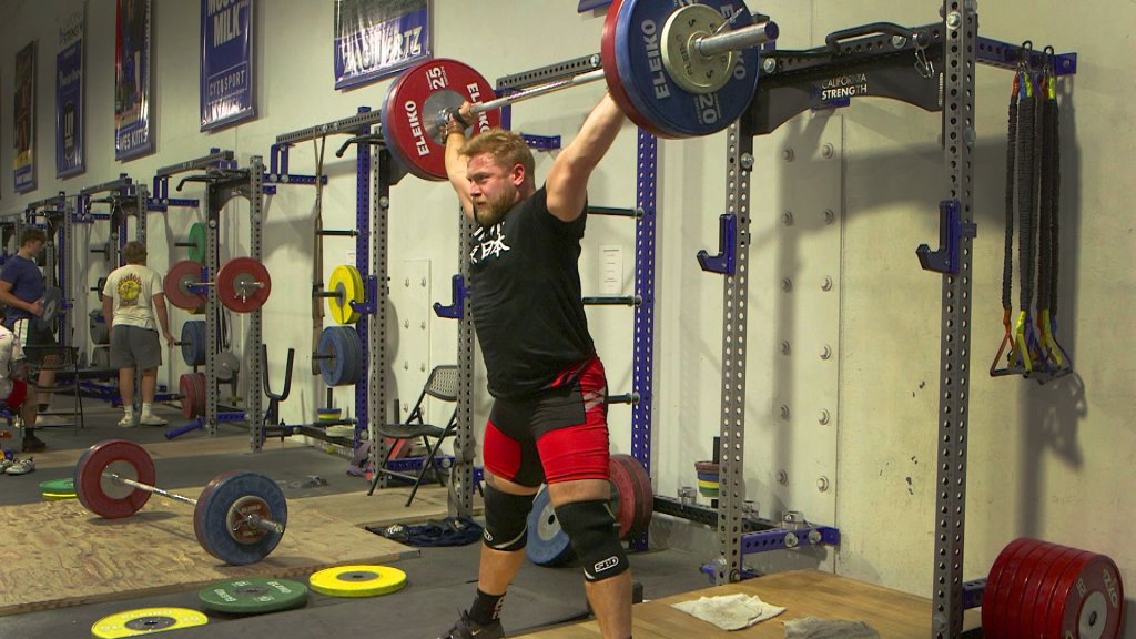 U.S. weightlifter Wes Kitts trains in California Strength gym in San Ramon.